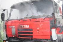 Požár nákladního automobilu v Krásně nad Bečvou.