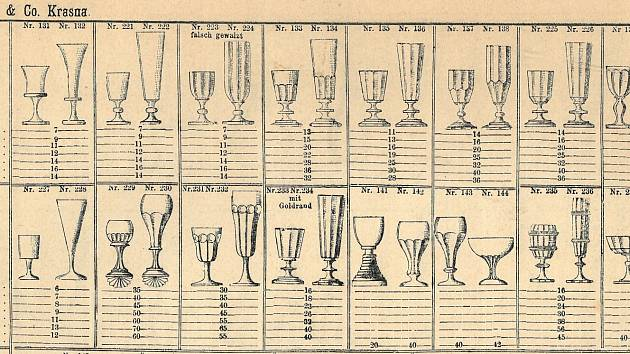 Nabídka kalíšků z produkce skláren ve Valašském Meziříčí – Krásně, 1870.
