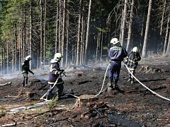 Požár přírodního porostu v lokalitě Malý Javorník.