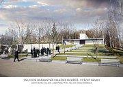 Dokončovaná stavba nové obřadní smuteční síně na hřbitově ve Valašském Meziříčí a vizualizace konečné podoby.