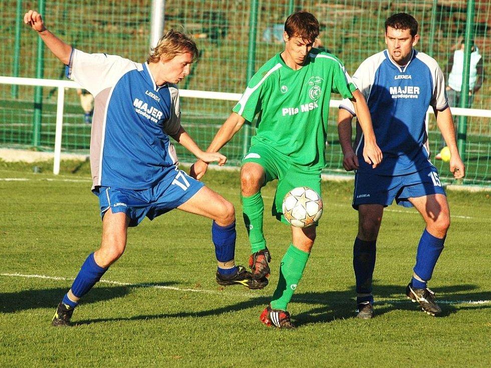 V utkání krajského přeboru VKK (v zeleném) – Vigantice se radovali z výhry 1:0 domácí