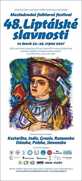 Programové letáky 48.ročníku festivalu Liptálské slavnosti