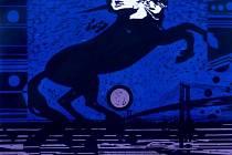 Zrcadlení – Kůň Svobody, 2001, dřevořez, 500x700 mm