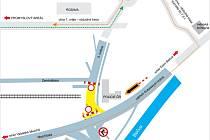 Mapa znázorňující dopravní omezení a objízdné trasy v Rožnově pod Radhoštěm platná pro období od 26. 9. do 3. 10. 2015