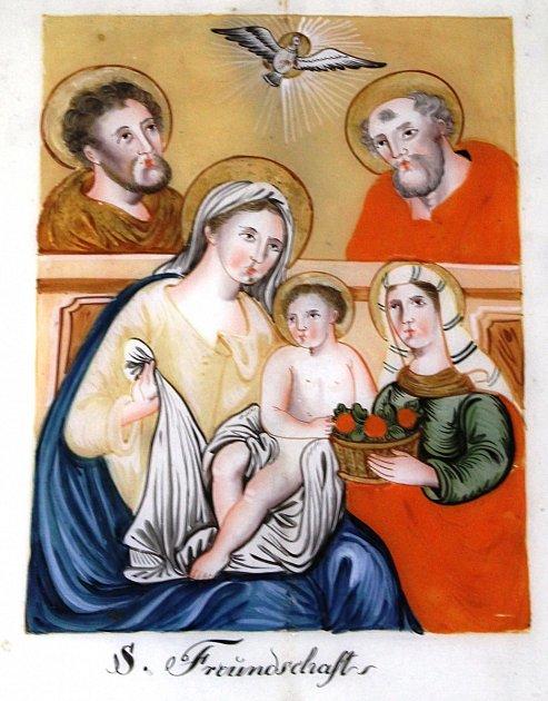 Svaté příbuzenstvo, podmalba na skle. Kladsko, konec 19.století.