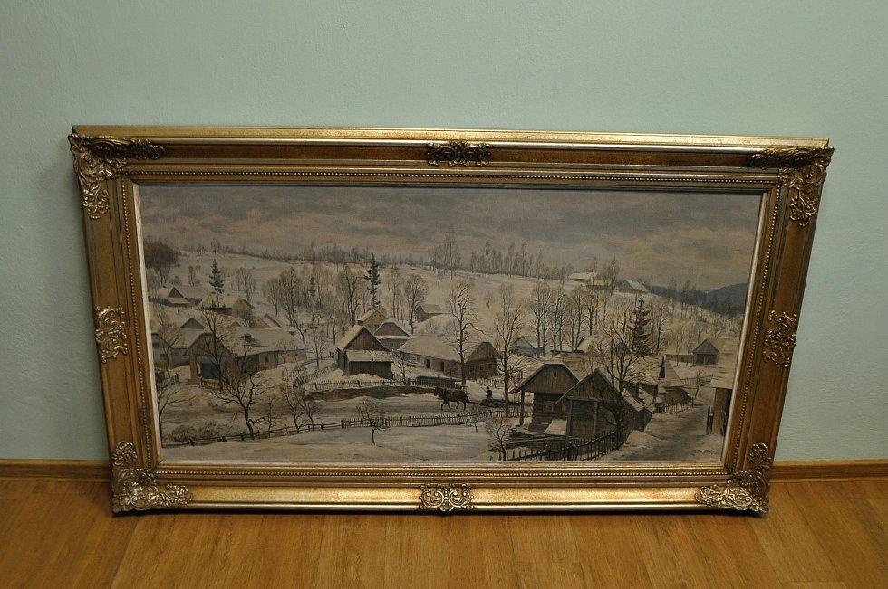 Zimní krajina a chalupy v Prlově na obrazu ak. malíře Karla Živného z roku 1949.