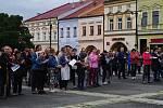 Téměř 200 lidí přišlo v úterý 28. května 2019 vyjádřit na valaškomeziříčské náměstí svůj nesouhlas s vládou Andreje Babiše