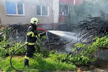 Požár několika okrasných stromků ve Vsetíně