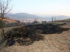 Požár luk na Valašsku