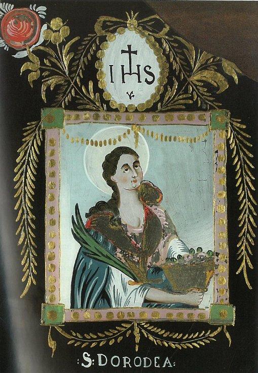 Svatá Dorota, podmalba na skle. Severní Čechy, 1. čtvrtina 19. století.