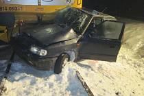 Dopravní nehoda na železničním přejezdu u obce Střítež nad Bečvou.