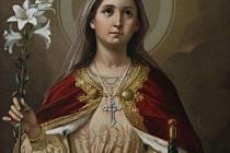 Sv. Kateřina Alexandrijská, chromolitografie z výstavy Světci pomocníci v zámku Lešná