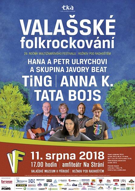 Plakát ke 29.ročníku hudebního festivalu Valašské folkrockování.