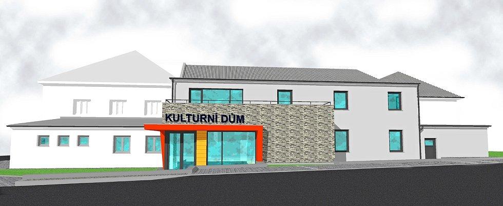 Velké Karlovice - vizualizace budoucí podoby kulturního domu ve Velkých Karlovicích, který vznikne z místního kinosálu.