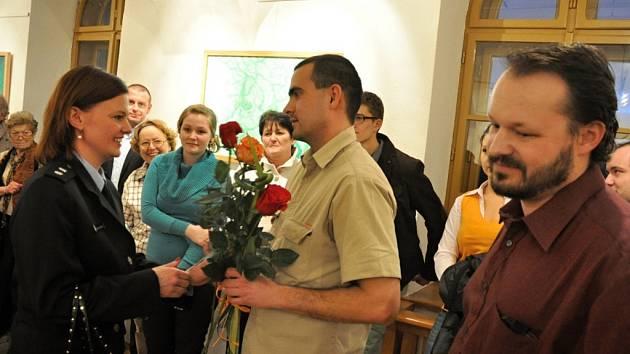 Vernisáž společné výstavy Jiřího Fialy a Jiřího Hromady ve vsetínské Galerii Stará radnice; Vsetín, středa 5. února 2014