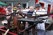 1. ročník soutěže historických koňských vahadlových stříkaček v Zašové; sobota 27. července 2019