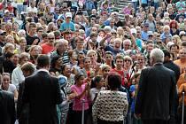 Prezident republiky Miloš Zeman na setkání s občany ve Vsetíně; čtvrtek 5. září 2013