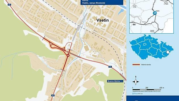 Vizualizace řešení budoucí podoby rampy Mostecká ve Vsetíně.