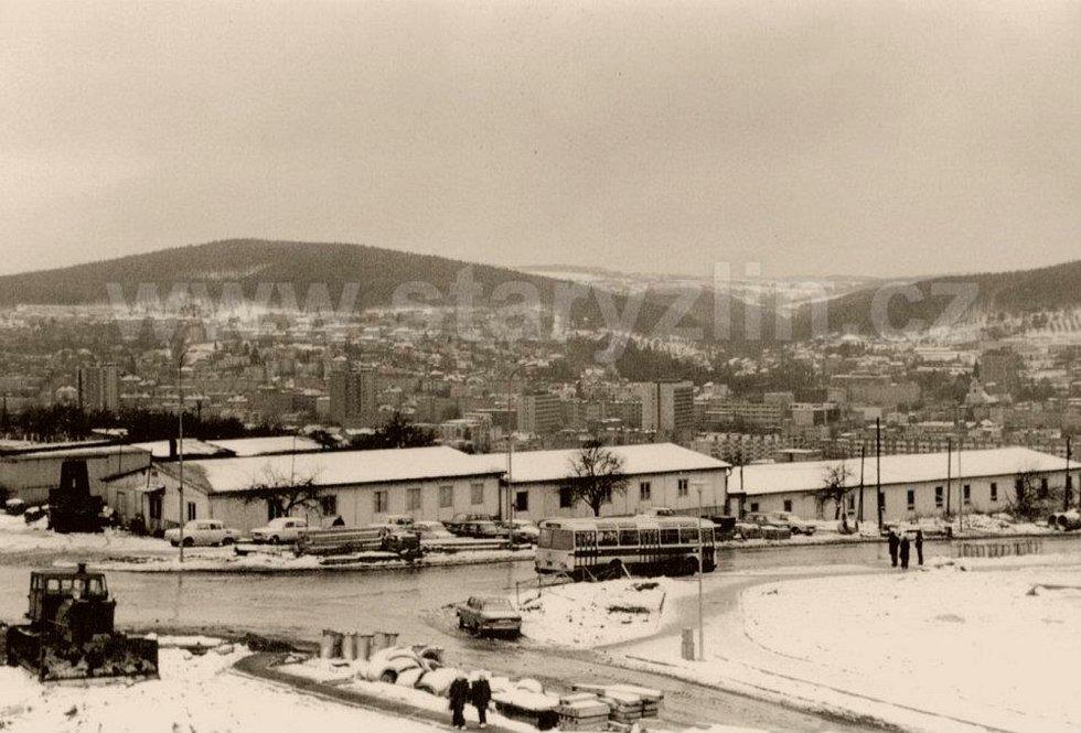 Zlín 1977, křížení ul. Středová a Okružní