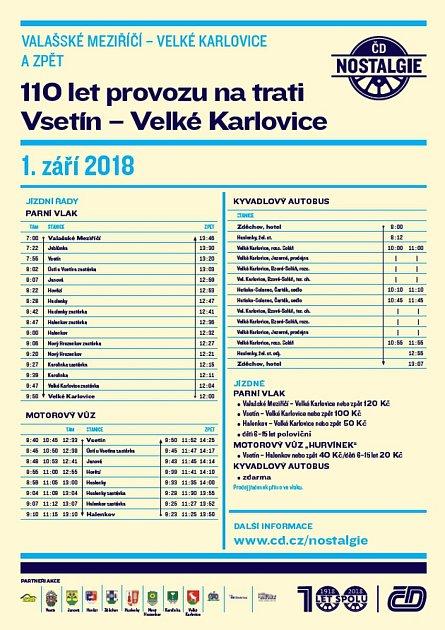 Vsobotu 1.září se bude na železniční trati Vsetín – Velké Karlovice slavit. 110let od zahájení provozu na této trati obohatí pestrý doprovodný program.