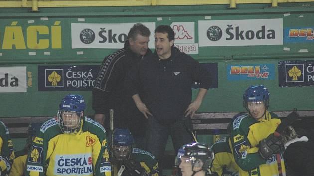 Trenéři dorostu Josef Turek (vlevo) a Jaroslav Plachtovič.