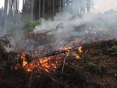 Požár u Střelné na Hornolidečsku