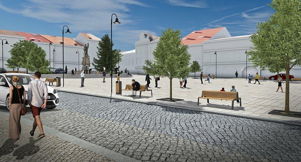 Vizualizace budoucí podoby rekonstruovaného náměstí ve Valašském Meziříčí