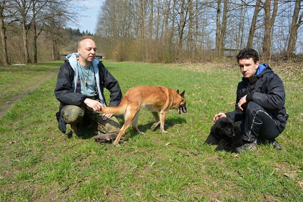 Psi nemohli v době pandemie na cvičáky. Chybí jim socializace. Na snímku výcvikář Pavel Riedl (vlevo) se čtrnáctiletou fenou belgického ovčáka Cho Chang a Tomáš Václavík se štěnětem německého ovčáka Amonet.