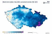 Měsíční úhrn srážek v říjnu 2020 v procentech normálu 1981 - 2010