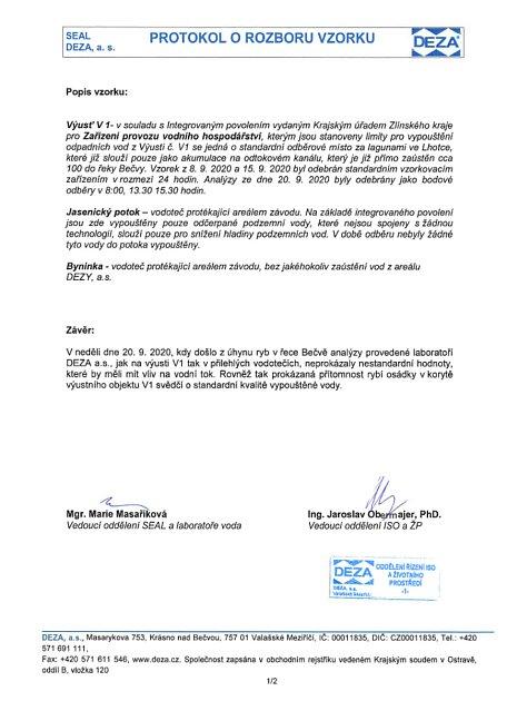 Na protokolu orozboru vzorku vDEZA ze dne 22.září 2020je množství kyanidu ve vodě uvedené pod označením CNcelk.