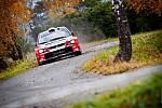 Vítězná posádka vsetínského sprintu Melichárek – Lasevič na voze Mitsubishi Lancer WRC.