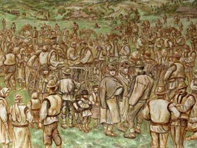 Obraz (výřez) Huculská svatba od akademického malíře Jana Kobzáně.