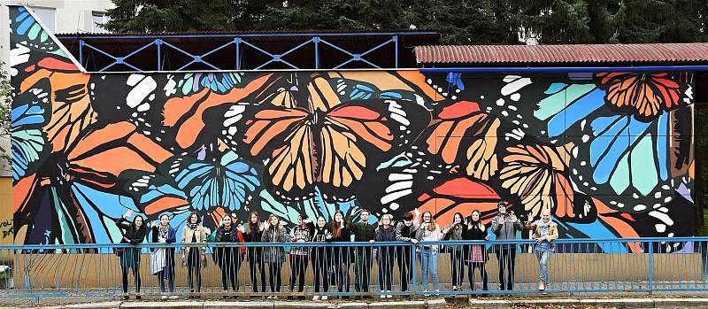 Studenti Střední uměleckoprůmyslové školy sklářské Valašské Meziříčí vyzdobili rozměrnou malbou s motivem motýlů nepoužívaný vstup do uzavřeného pochodu v Sokolské ulici ve Valašském Meziříčí; říjen 2021