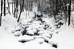 Zasněžené Velké Karlovice v lednu 2020. Vsetínská Bečva