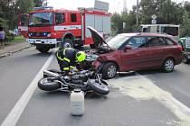 Dopravní nehoda motorkáře v Jablůnce.