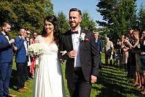 Svatba Michala Pláška a Petry Kovářové v parku valašskomeziříčské hvězdárny; sobota 22. srpna 2020