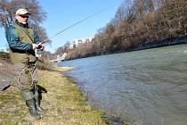 Rybáři na březích Vsetínské Bečvy v úterý 16. dubna 2013 využívají prvního dne sezony, kdy je povoleno chytat na pstruhových vodách.