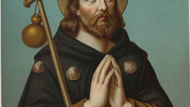 Francouzský katolický kněz, svatý Roch - na chromolitografii německého malíře Fridolina Leibera (80. léta 19. století)