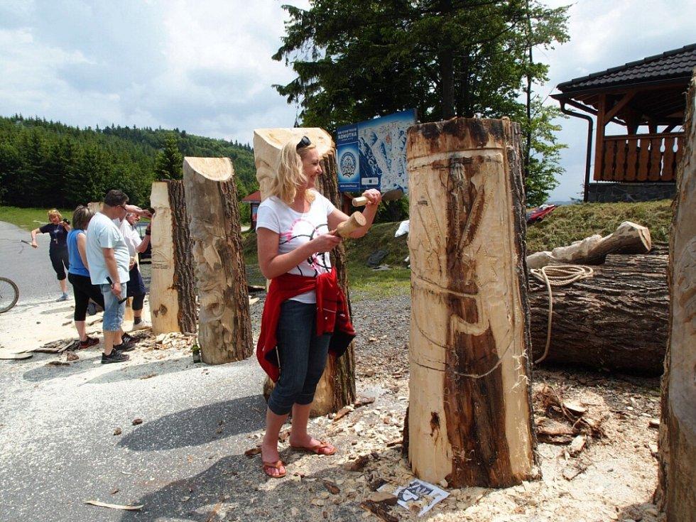 Účastníci třetí řemeslné dílny u 1. slovensko-českého informačního centra na Kohútce (Nový Hrozenkov) vyřezávají a zdobí tradiční valašské úly – takzvané kláty; Kohútka, sobota a neděle 8. a 9. června 2013.