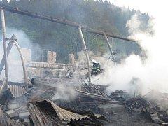 Pilu v Karlovicích zničil požár, škoda přesáhla 10 milionů