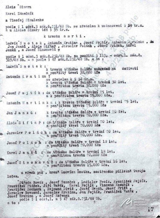 Rozsudky vynesené v červenci 1950 při procesu ve vsetínském divadle nad částí obžalovaných z protistátní činnosti v jedné ze skupin protikomunistické odbojové organizace Světlana či z napomáhání této skupině.