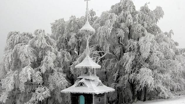 První sníh na Pustevnách.