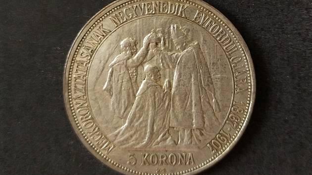 Jubilejní rakousko-uherská pětikoruna k 40. výročí korunovace Františka Josefa I. v Budapešti