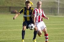 Ve třetím kole divize E Valašské Meziříčí (bíločervené dresy) prohrálo s Opavou B (0:2).