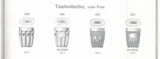 Nabídka kapesních skleniček zlisovaného skla vroce 1925
