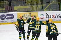 Hokejisté Vsetína v pondělí večer porazili Sokolov 3:1. Druhou branku přidal radující se David Březina.