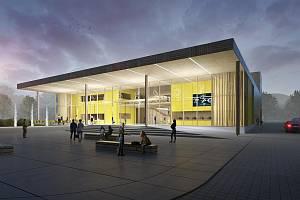 Vizualizace budoucí podoby plánovaného kulturního centra v Rožnově pod Radhoštěm.