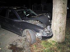 Osobní auto zastavilo o strom, řidič se zranil