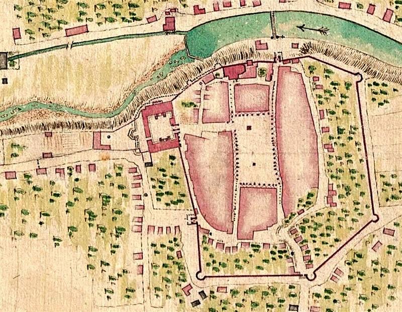 Plán hradeb města Valašské Meziříčí okolo roku 1710.