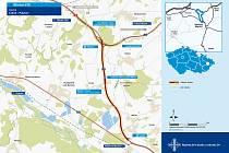 Mapa znázorňující plánovanou trasu Palačovské spojky.